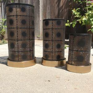 Other - Black Metal Hurricane Candle Holders GoldTrim